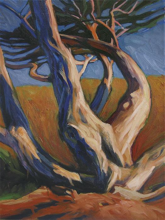 Peinture d'arbre à 3 troncs de Hélène Courtois-Redouté, peintre