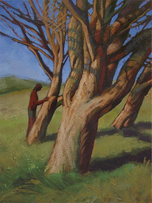 Peintures d'arbres penchés dans le vent, avec un homme debout