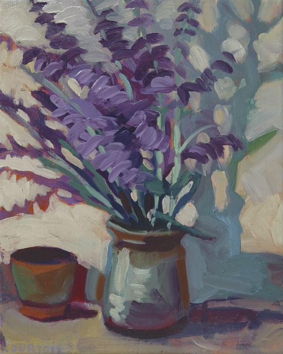 Peinture vase de fleurs mauves avec ombre bleue