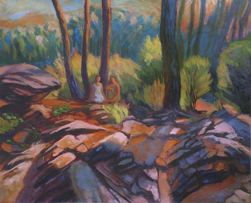 Paysage avec deux femmes conversant dans une forêt sur des rochers en été