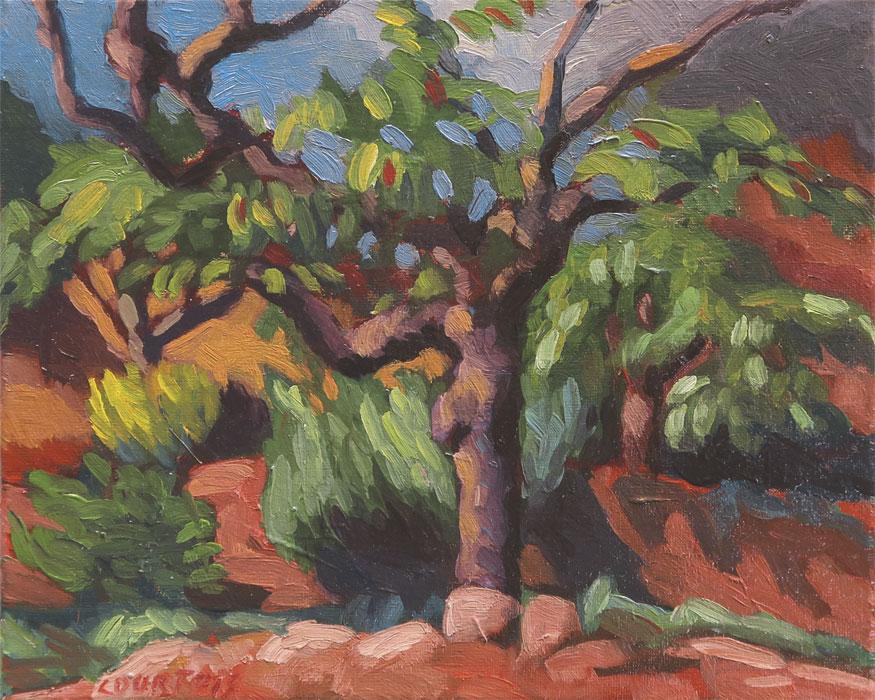 Cerisier dans un jardin, peinture expressionniste