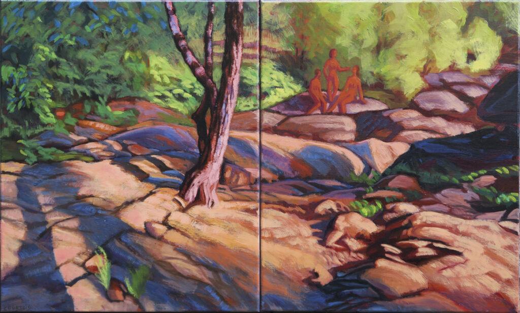 Bord de rivière en été, peinture de paysage avec ombres et lumière