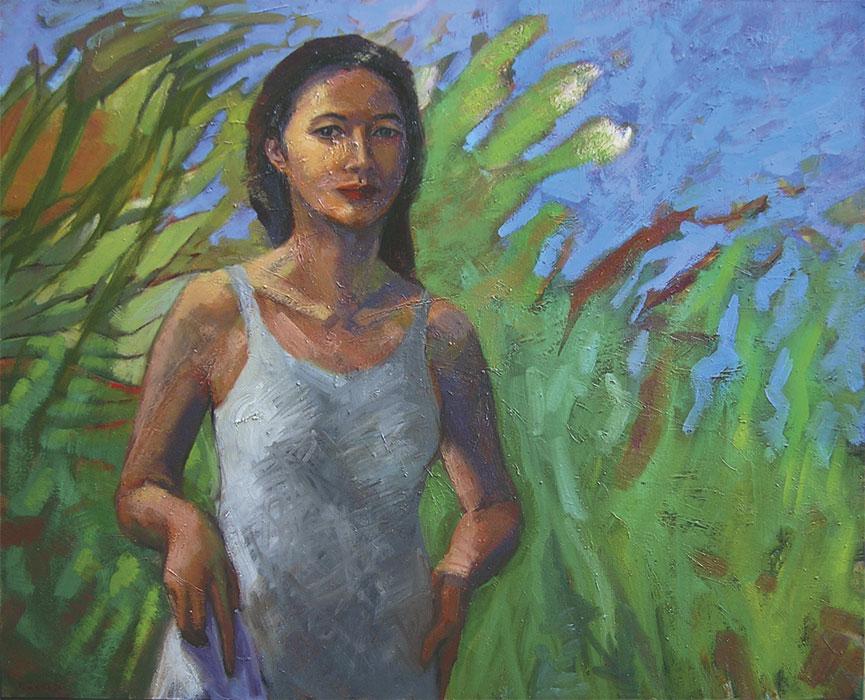 Peinture jeune femme en robe blanche et plantes