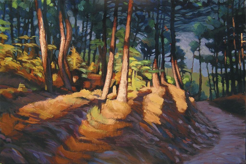 Peinture de forêt de pins avec ombres et lumière du soir