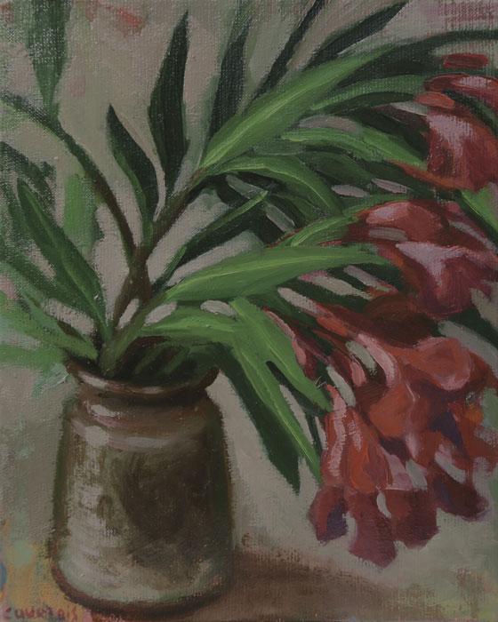 Vase avec une branche de laurier rose