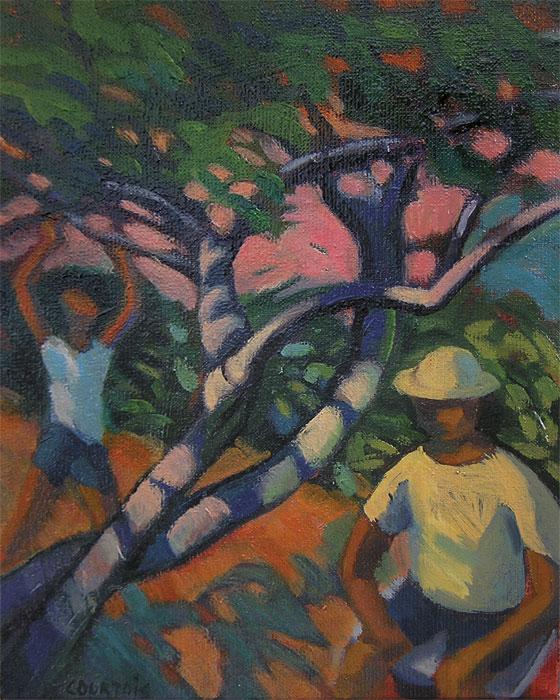 Petite peinture couleurs fauves homme et garçon dans un jardin