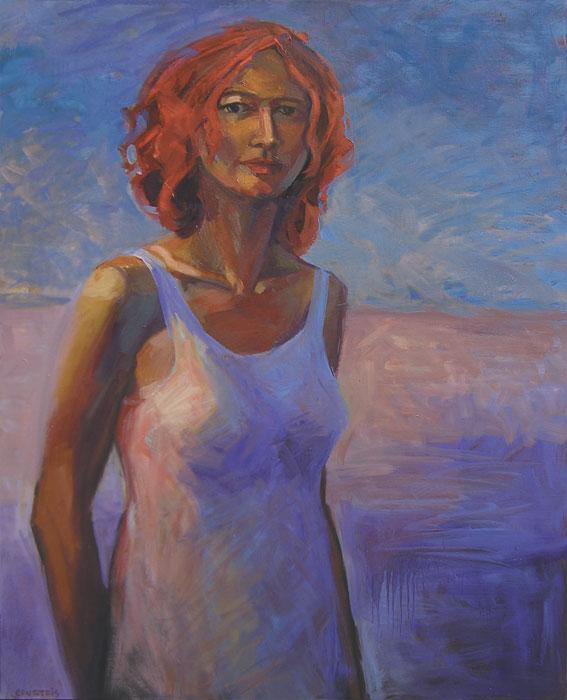 Peinture de femme en robe blanche sur un plage le soir