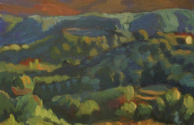 peinture de paysage le soir
