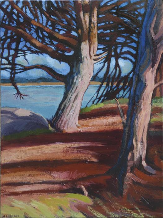 Peinture d'arbre en bord de mer sur un sentier au soleil