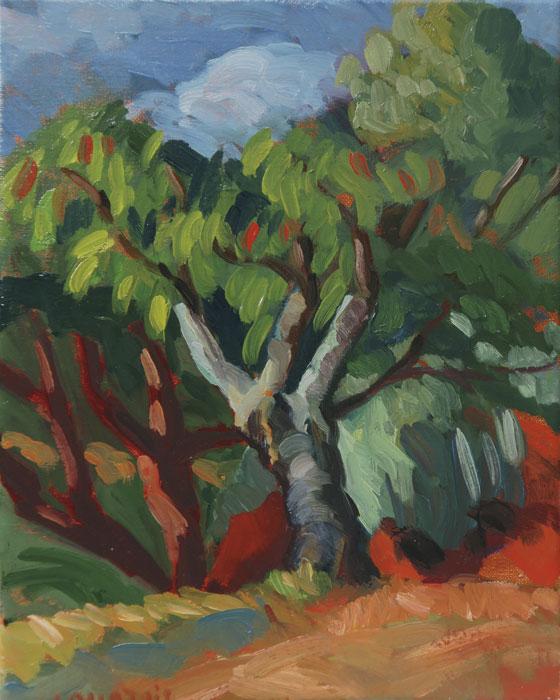 Peinture fauve d'un cerisier, couleurs chaudes