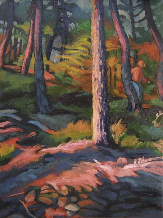 Peinture de sous-bois avec des couleurs d'automne