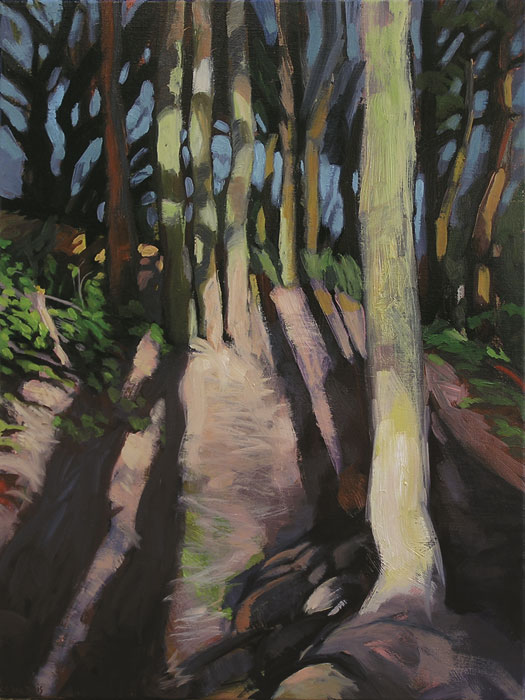 Peinture de sous-bois avec de grandes ombres allongées