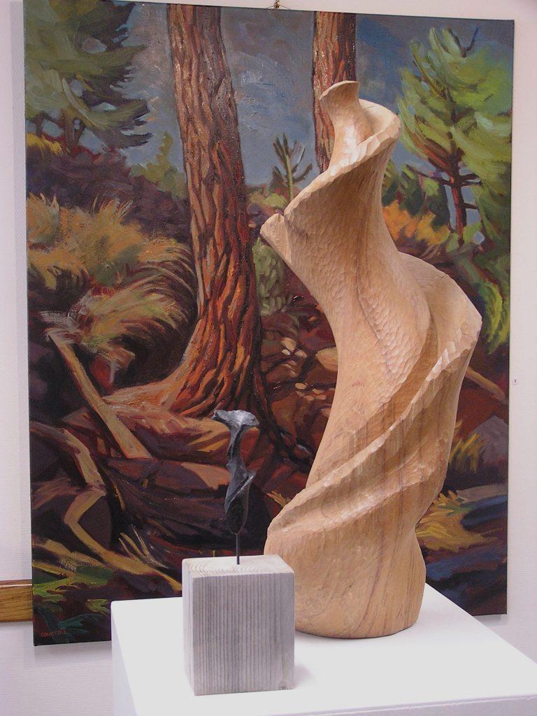sculpture bois de sibylle besançon et peture arbre hélène courtois-redouté