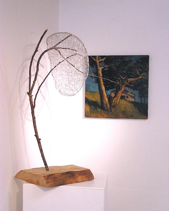 sculpture grillage et peinture paysage hélène courtois-redouté