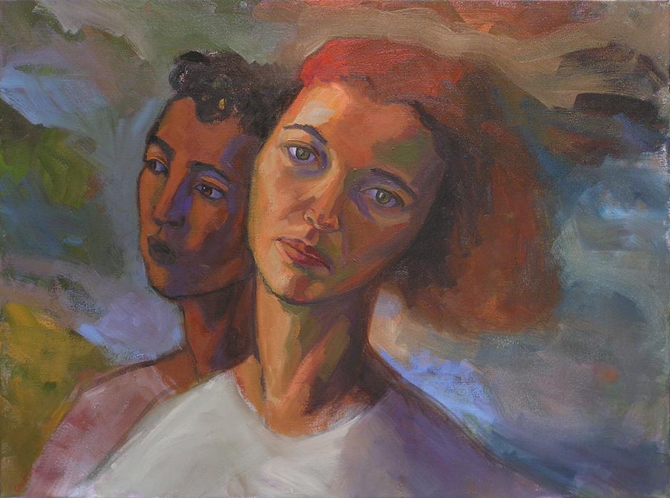 portrait de deux visages homme noir et femme blanche