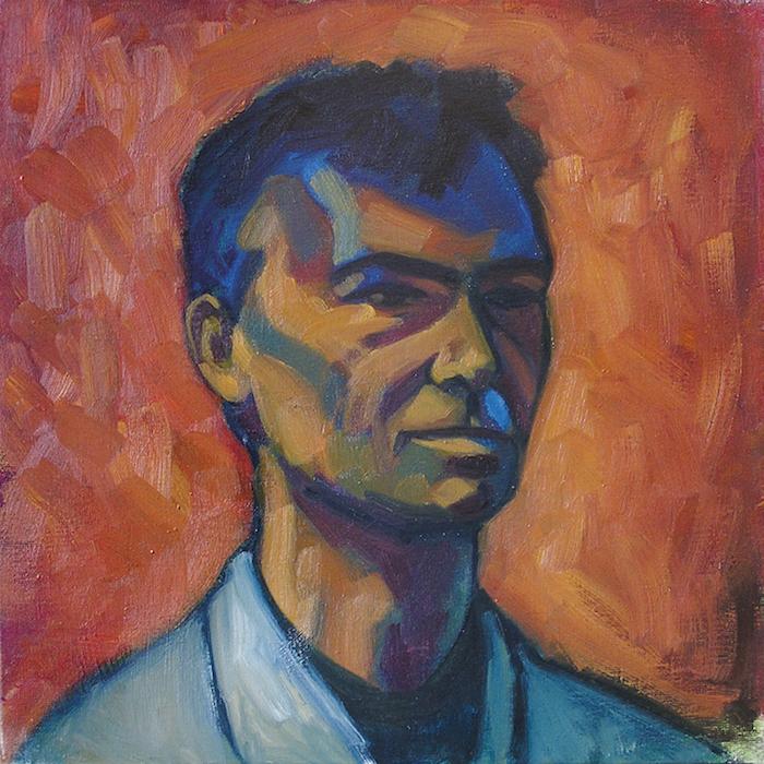 portrait d'homme expressionniste ombres bleu et violet sur fond or