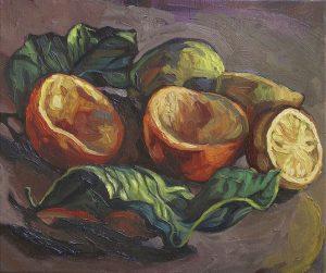 écorces d'oranges et citron peinture expressionniste