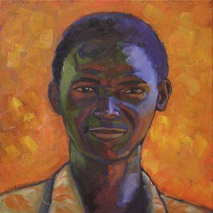 portrait homme noir sur fond orange