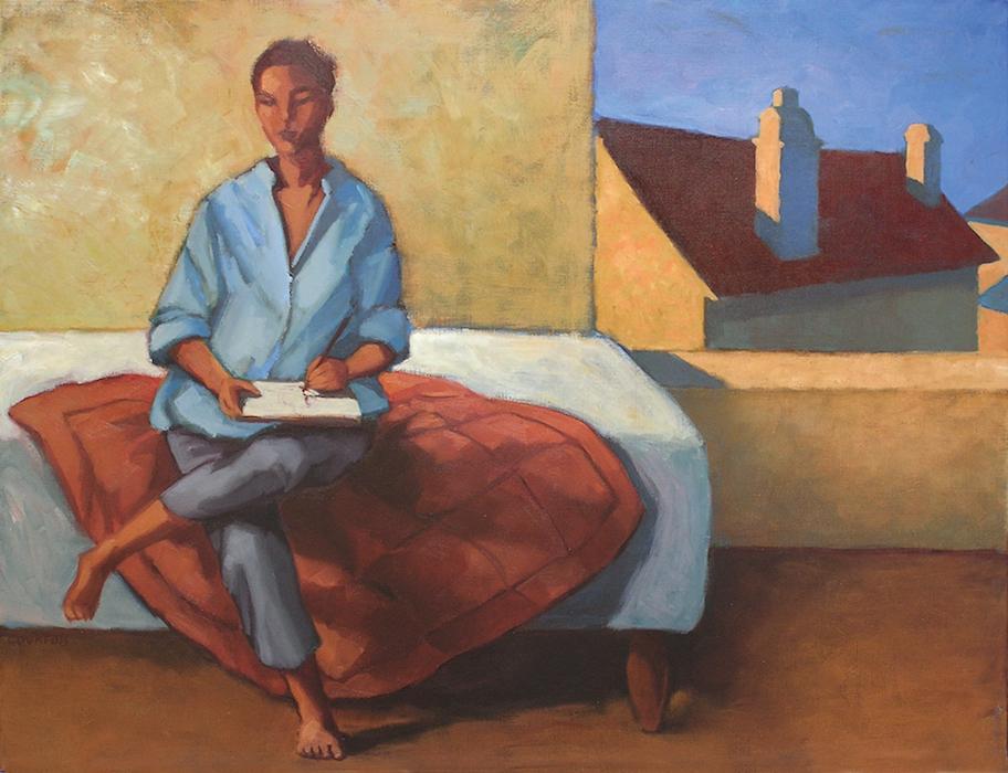 personnage assis sur un divan blanc avec une couverture rouge