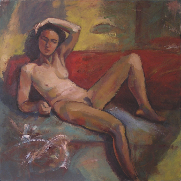 femme nue sur un divan rouge peinture contemporaine