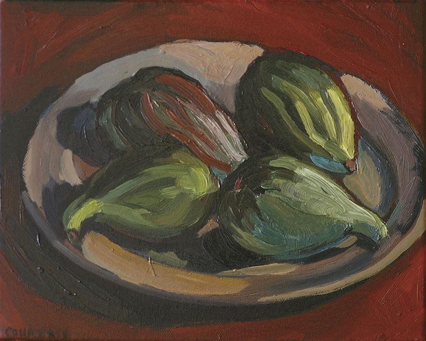 assiette de figues peinture expressionniste