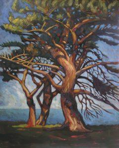 grand arbre en bord de mer peinture