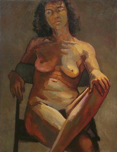 grand nu féminin contrasté sur fond gris chaud
