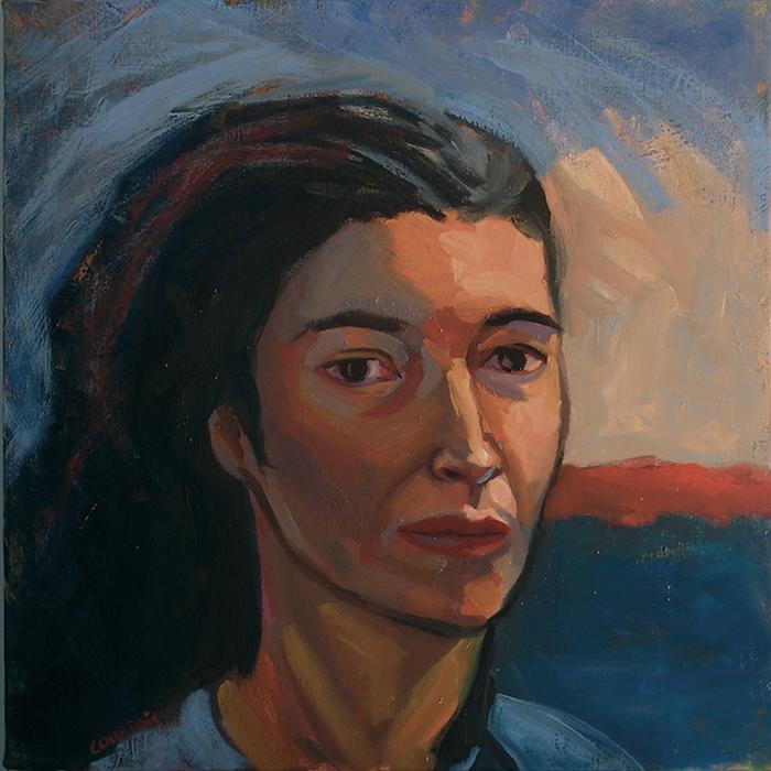 portrait de femme expressionniste avec cheveux noirs hélène courtois redouté peintre