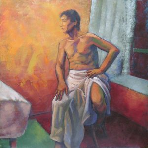 portrait nu homme drapé intimité