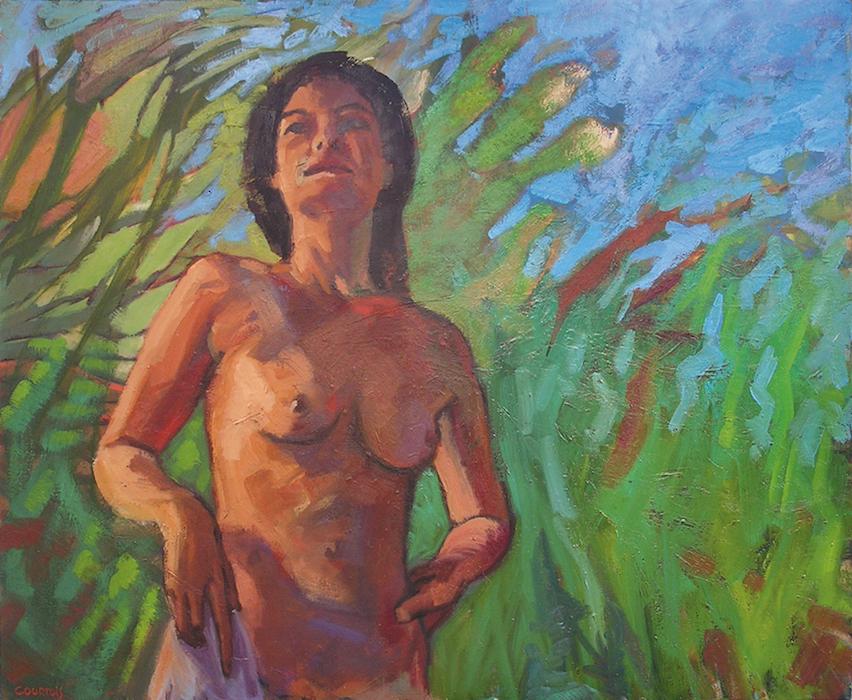 femme nue debout dans une jungle