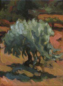 petit olivier en ardèche peinture