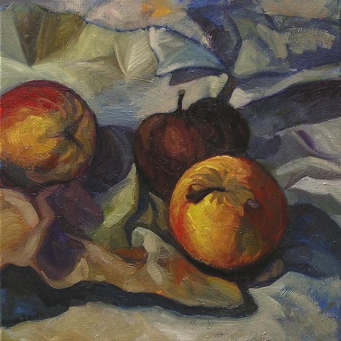 pommes rouges jaunes et marron sur papier