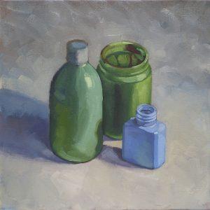 pots et flacons verts et bleus