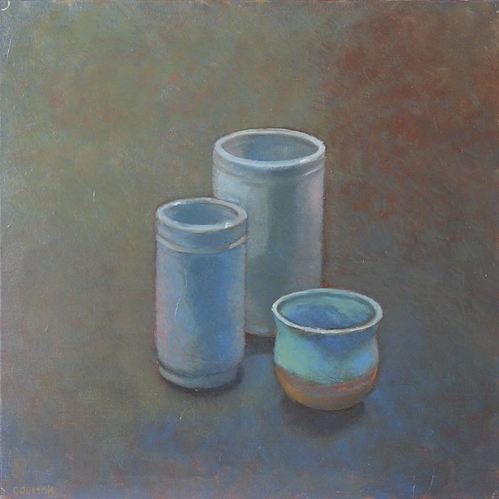 pots bleus sur fond ocre peinture à l'huile