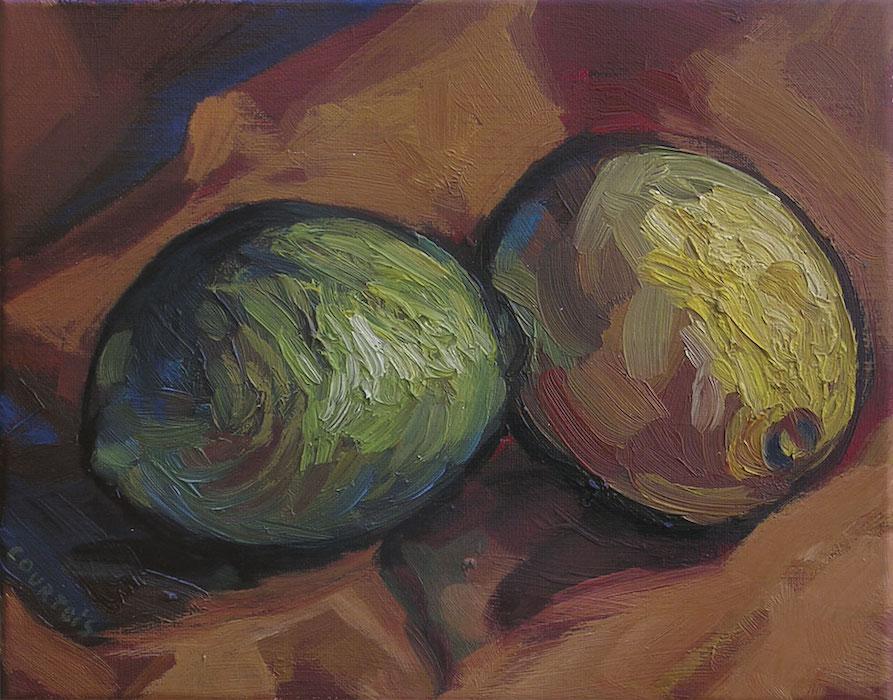 deux citrons peinture à l'huile