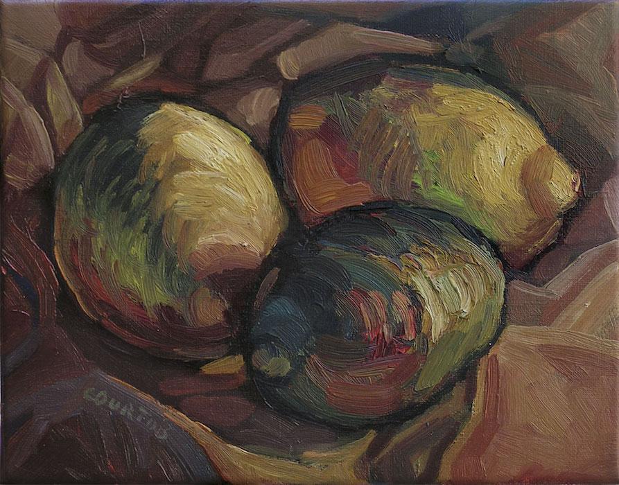 citrons colorés sur drapé