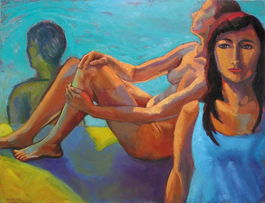 femme nue assise et fille tee-shirt bleu devant une piscine