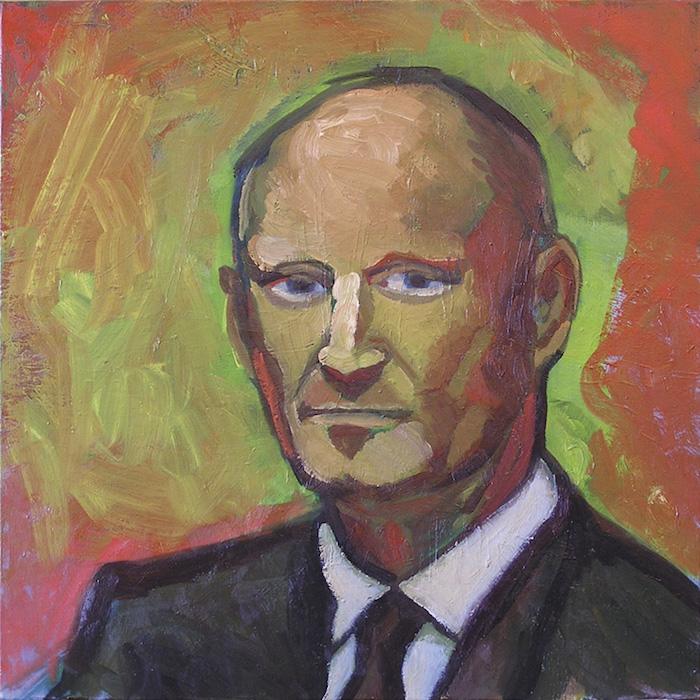 portrait homme en costume noir sur fond vert et rouge