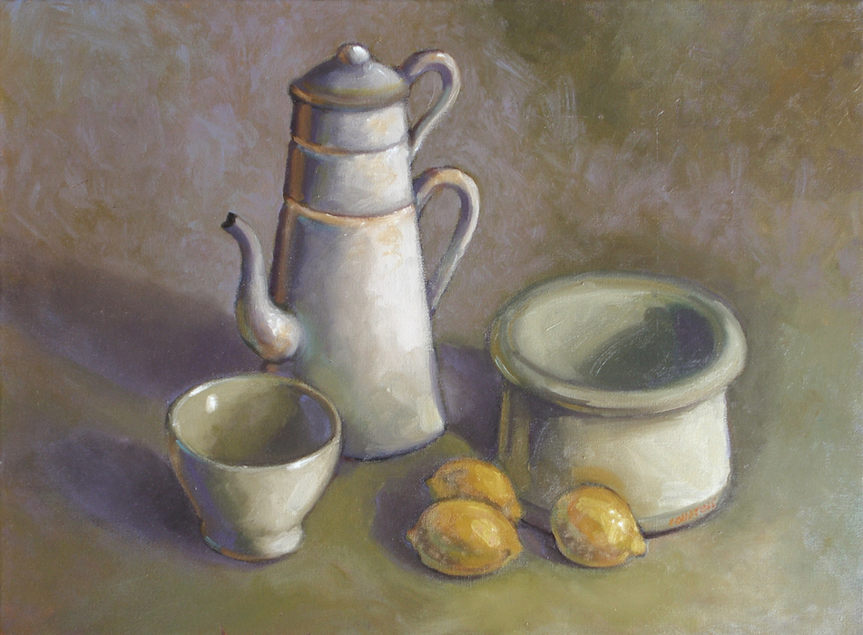 cafetière, bol et pot blanc avec citrons still lives