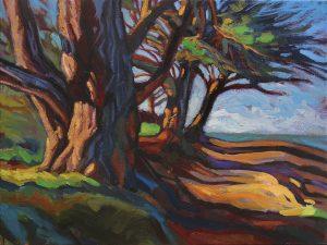 Allée d'arbres en bord de mer côtes d'Armor. Hélène Courtois-Redouté, peintre