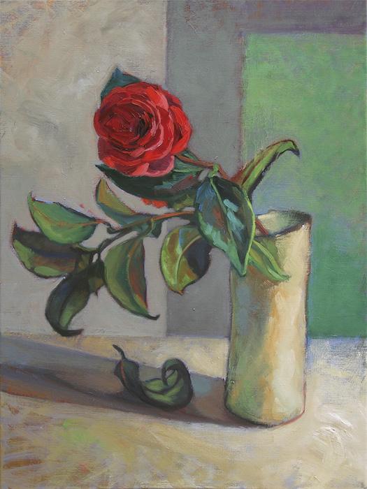 peinture camélia et branche dans un vase blanc