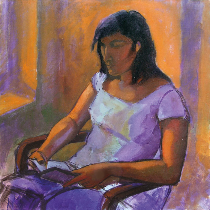 jeune fille lisant peinture fond orange, lumière violette