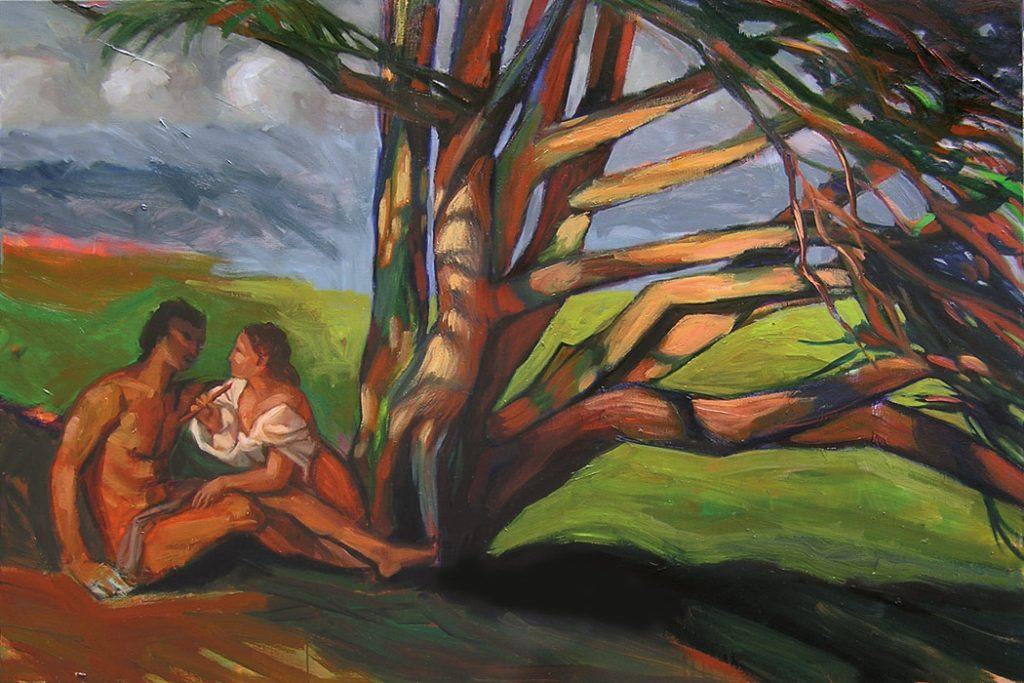 couple et bosquet arbres peinture contemporaine
