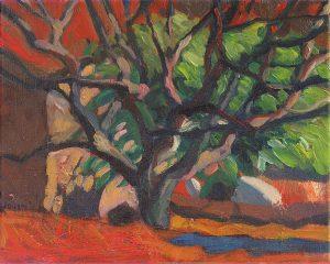 peinture olivier lumière soir fond rouge