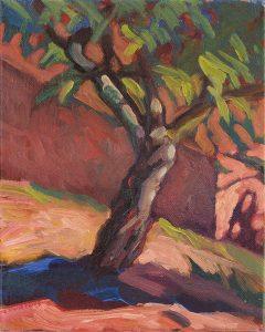 cerisier peinture contemporaine lumière du soir rose violet