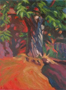 Châtaignier peinture huile dominante rouge