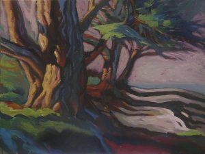 peinture d'une allée d'arbres en bord de mer