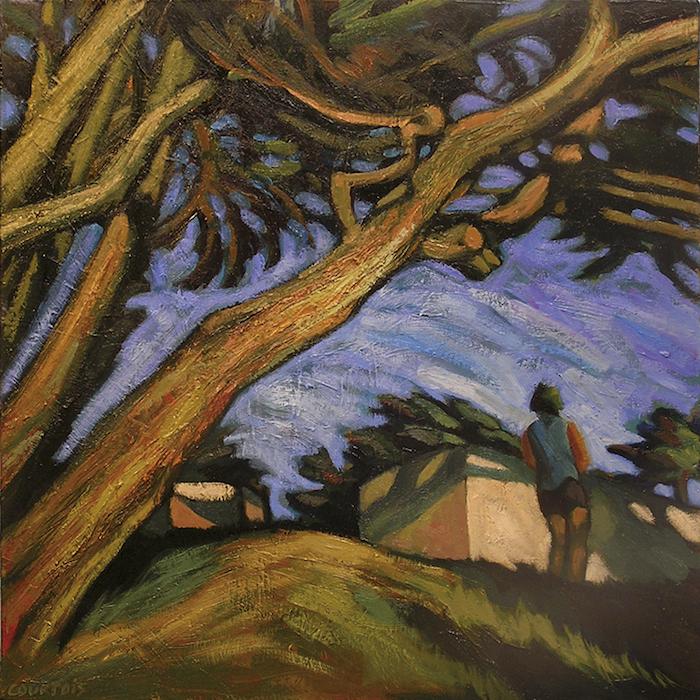 arbres penchés et petite maison plage des chevrets