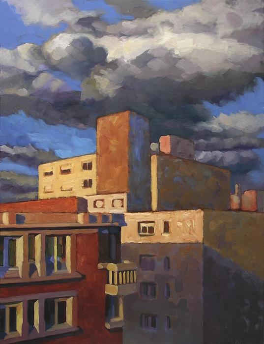 paysage urbain immeubles lumineux et nuages sombres