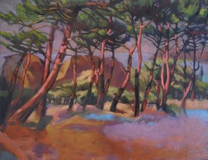 peinture forêt de pins roses
